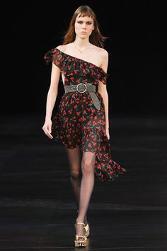 Yves Saint Laurent SS 2015 ASYMMETRICAL ONE SHOULDER DRESS IN BLACK AND RED CHERRY PRINTED SILK GEORGETTE.WITH RUFFLED NECKLINE AND HEM. SIZE 40 100% SILK SIDE ZIP AND HOOK CLOSURE