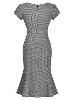 Miusol® Women's Vintage Houndstooth-Print Bow Slim Retro Evening Dress at Amazon Women's Clothing store: