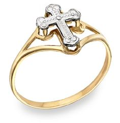 ApplesofGold.com - Ladies' Cross Ring, 14K Two-Tone Gold Christian Jewelry $99.00