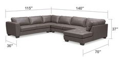 Modern-Day Appeal. Casual yet full of flair, the Santana sectional will elevate the style of your living space. Offering plenty of room with its oversized pocketed coil seat cushions, it features luxurious, breathable gray leather-like fabric with detailed contrast stitching. Wedge feet, deep seating and cozy cushions make the Santana a must-have for any casual contemporary or modern décor. Four-piece sectional includes left-facing sofa, armless sofa, corner and right-facing chaise, as…