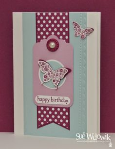 April 2014 Card Class featuring Stampin' Up! Elegant Butterfly, Bitty Butterfly and Scallop Tag Punches