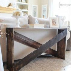 Are you looking for Sofa-table ideas you can build this weekend? Find daring and dramatic DIY Sofa Tables that are inexpensive and look great in any home. Narrow Sofa Table, Farmhouse Sofa Table, Sofa Table Design, Sofa Table Decor, Rustic Sofa, Couch Table, Farmhouse Furniture, Diy Couch, Cheap Sofa Tables