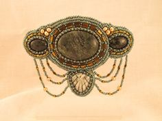 Barrette in blue and gold,  jasper and pearls