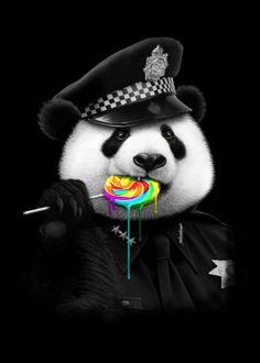 Panda Police - Lollypop Cop T Shirt Panda Love, Cute Panda, Panda Panda, Animals And Pets, Funny Animals, Cute Animals, Le Dab, Panda Mignon, Panda Wallpapers