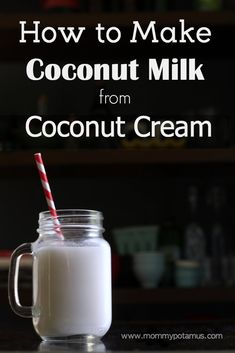 How To Make Coconut Milk From Coconut Cream This method is so easy it almost feels like cheating, bu Make Coconut Milk, Coconut Cream, Coconut Milk Drink, Coconut Oil, Almond Milk, Gelato, Smoothies, Milk Ice Cream, Real Food Recipes