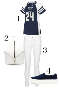 """The """"I'm An Actual Football Fan"""" Version from Marie Claire. http://www.marieclaire.com/fashion/news/g2629/super-bowl-outfit-ideas/?slide=4"""