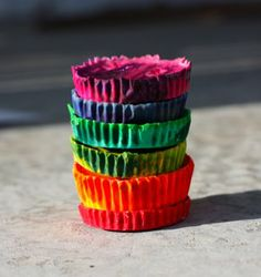 Handmade crayons - instead of throwing out broken crayons put them all together to make some cool swirly colors and put them to use again!