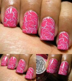 "Crackle nail polish in an ""S"" shape."