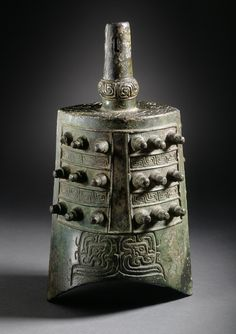 Bell (Zhong) with Dragons and Spirals - China, probably Shaanxi Province, Late Western Zhou dynasty, about 850-771 B.C. - Cast bronze | LACMA Collections