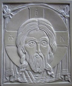 """""""Not Made by Hands"""" Icon of Christ / Hands Icon, Plaster Art, Wood Carving Designs, Byzantine Icons, Religious Images, Orthodox Icons, Cristiano, Christian Art, Wood Sculpture"""