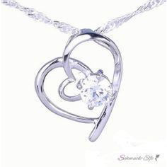 Silber Anhänger Zirkonia Herz  inkl. 925 Silber...
