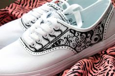 canvas shoes with black fabric marker