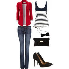 A fashion look from September 2012 featuring French Connection tops, Wallis blazers and MANGO jeans. Browse and shop related looks.