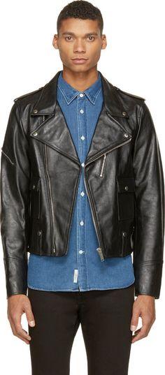 $608, Black Leather Biker Jacket: Golden Goose Black Leather Chiodo Biker Jacket. Sold by SSENSE. Click for more info: https://lookastic.com/men/shop_items/290910/redirect