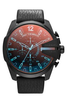 DIESEL®+'Mega+Chief'+Chronograph+Leather+Strap+Watch,+51mm+available+at+#Nordstrom