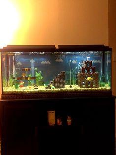 Super Mario aquarium, I want this. I love super mario Lego Super Mario, Super Mario Bros, Lego Mario, Mario Toys, Deco Gamer, Georg Christoph Lichtenberg, Aquarium Terrarium, Turtle Terrarium, Terrarium Ideas