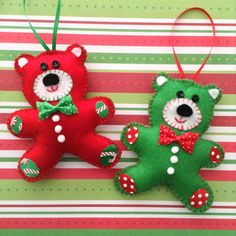 Teddy Bears Ornaments - Christmas Decor Ornaments - Handmade and Design in Felt Material - Decor with cute details ( buttons - Pom Pom - ribbon ) .