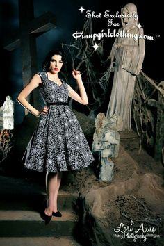 Heidi dress in black and white spiderweb print by Pinup Couture