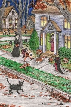 """""""HALLOWEEN MEMORIES- Hello, I am Artist Margaryta Yermolayeva and I have for sale a 4x6 inch print from an Original painting of mine available titled, \""""HALLOWEEN MEMORIES\"""". It is done on 100 lb acid free, archival paper which I have signed, titled, and dated for authenticity. This is direct from myself, the artist. I have sold my artwork around the world and have been a lifelong professional artist. My artwork is my passion. All of my art is copyrighted to protect the integrity of my product a Holidays Halloween, Spooky Halloween, Halloween Pumpkins, Happy Halloween, Halloween Night, Halloween Spells, Halloween Stories, Halloween Artwork, Halloween Prints"""
