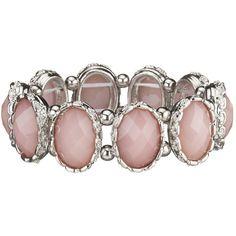 Pink Rhinestone Stretch Bracelet ($16) ❤ liked on Polyvore