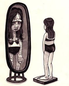 A perfect illustration of Body Dysmorphic Disorder, by Travis Millard. Background Cool, Self Image, Anorexia, Look In The Mirror, Mental Health Awareness, Mental Illness, Perfect Body, Disorders, Illustration