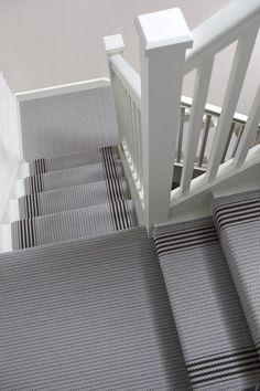 Hallway carpet striped stair carpet grape u grey stripe stair and Carpet Staircase, Hallway Carpet, Basement Carpet, Up House, House Stairs, Victorian Hallway, Edwardian House, Hallway Decorating, Decorating Ideas