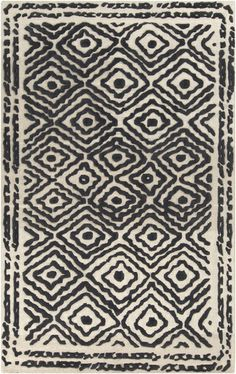 Surya Atlas Rug in Black and White - 100% Wool and Hand Woven -Available in 9 Colors with Thin High/Low Pile  Surya |  Rugs, Pillows, Art, Accent Furniture