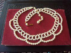 Vintage Pearl Collar Necklace 1960s Antique by primitivepincushion, $29.99