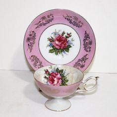 Vintage Royal Halsey Tea Cup and Saucer  by SuesAntiqWonderland