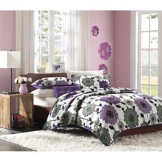 @Overstock - This Clarissa quilt set is young, fun and entertaining. The perfect combination of bright purple and grey floral print on a white background makes the purple color pop beautifully.http://www.overstock.com/Bedding-Bath/Mizone-Clarissa-3-piece-Quilt-Set/7110745/product.html?CID=214117 $54.99