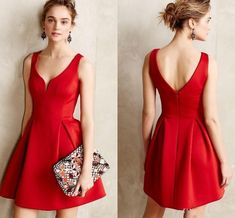 Causal Short Party Dresses Red A Line Short Prom Dresses For Wedding Party Formal Cocktail Formal Gown Plus Size Plunging Neckline