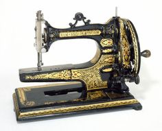 This is just so beautiful but really would not want to make a garment using this machinge.Cast iron sewing machine, c. 1880. Courtesy of the V & A Museum.