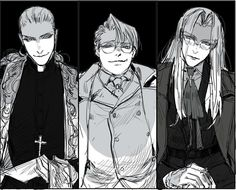 virgin trio Hellsing belongs to Hirano hello war Iron Maiden, Sir Integra, Hellsing Alucard, Vaporwave Wallpaper, The Blues Brothers, Spooky Scary, Gurren Lagann, Otaku, Magical Creatures