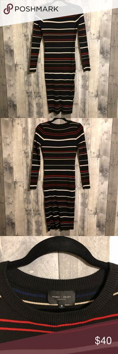 Romeo & Juliet couture medium ribbed bodycon dress Lightly worn Romeo & Juliet couture ribbed bodycon long sleeve sweater dress with stripes. Midi length and ultra sexy! Romeo & Juliet Couture Dresses Midi