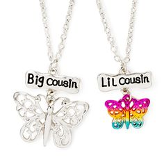 Big and Lil Cousin Butterfly Pendant Necklaces