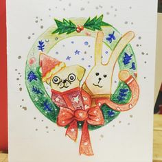 Kimis Sketchbook — #pugs #rabbit #card #illustration