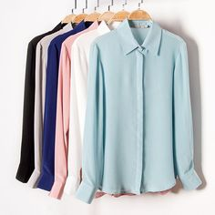 Women's Blouse Long Sleeved Real Silk Crepe Basic Button for Office Loose Shirts, Work Shirts, Long Sleeve Shirts, Ladies Shirts Formal, Long Blouse, Silk Crepe, Collar Shirts, Blouses For Women, Women's Blouses