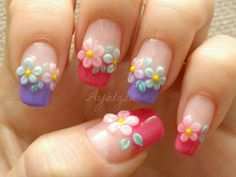 Spring flower nail art~ So Adorabal .. however i'd do it on just my ring finger... buuuut the more i look at this the more i like it on all fingers