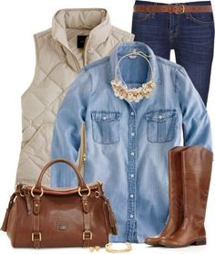 Casual chambray shirt with neutral vest and riding boots bmodish rosa boots, denim shirt outfits Vest Outfits, Mode Outfits, Casual Outfits, Fashion Outfits, Womens Fashion, School Outfits, Fashion Clothes, White Vest Outfit, Puffy Vest Outfit