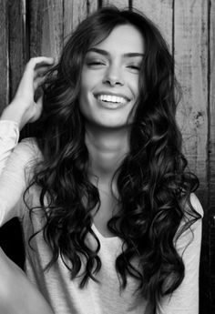 Wavy long brunette hair...