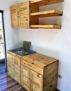 Adorable, Affordable DIY Ideas with Recycled Pallets: The ideas of recycling wood pallets we have presented here are affordable because nothing other than Pallet Kitchen Cabinets, Pallet Cabinet, Kitchen Cabinet Design, Kitchen Furniture, Wooden Pallet Projects, Wooden Pallet Furniture, Wooden Pallets, Wooden Diy, Pallet Ideas