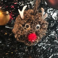 Rudolf hanging Pom Pom ornament  Available at https://m.facebook.com/Pom-Pom-Palace-1530307263716345/