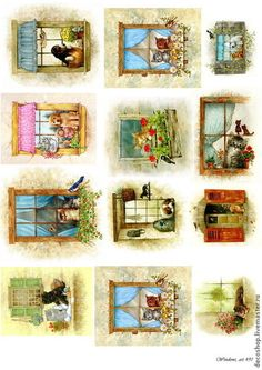 """Decoupage y pintado a mano.  Masters Feria - hecho a mano.  Compre número 491 """"ventanas de las casas de té,"""" papel de arroz para decoupage.  Hecho a mano."""