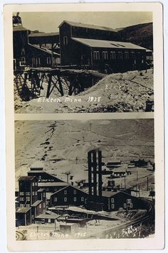 ELKTON MINE IN CRIPPLE CREEK, COLORADO, in 1938 & 1908 - Real Photo Postcard