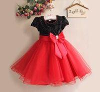 New Girl bebê vestido vermelho e branco Crianças Party Dress com arco Descontos infantil Kids Clothing 6pcs/Lot GD11116-01B ^ ^ HK