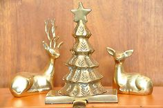 VINTAGE SET OF 3 SOLID BRASS DEER FIGURINES AND CHRISTMAS TREE STOCKING HANGER #christmas #ornament #brass #stockinghanger #christmastree #deer #brassdeer #christmasdecor #holidaydecor #brassfigurine  #mantel #fireplace #homedecor