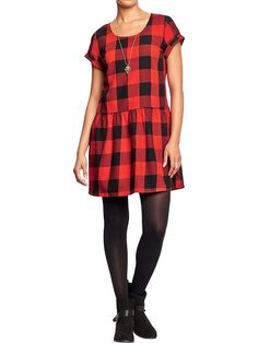 Old Navy Gingham Drop Waist Dress | Buffalo Check Drop Waist Dress | #oldnavy #fallfashion