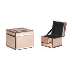 Set of 2 Rose Gold Mirror Boxes