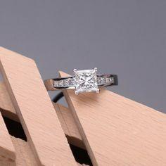 1 Carat Princess Cut Engagement Ring On Finger 58