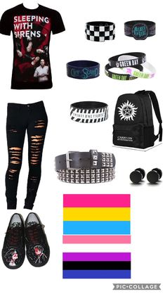 OOF that is me i love supernatural, mcr, and sleeping with sirens im also gender fluid and pansexual also im slightly emo i always have been Androgynous Fashion, Boyish Fashion, Queer Fashion, Emo Outfits, Fashion Outfits, T Shirt Hacks, Boyish Style, Alternative Outfits, Summer Shirts